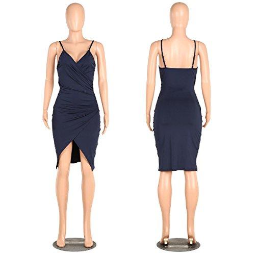 SHISHANG Mesdames mode vestimentaire deux couleur de sélection haute ressort élastique et en été robe harnais sexy Dark Blue