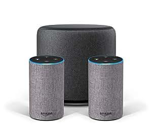 Système Stéréo Echo - 2 Amazon Echo (2ème génération), Tissu gris chiné + 1 Echo Sub