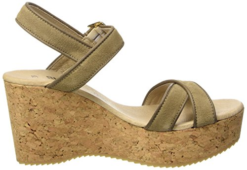 SHOOT Shoot Shoes Sh-160035 Damen Sommer Plateau Sandale Wedges, Sandales à plateforme femme Ivoire - Elfenbein (Taupe)