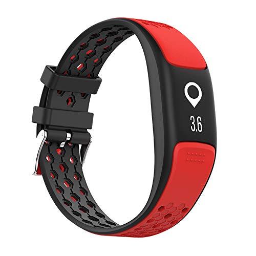 GLDMT P8 Smart Sportarmband, Herzfrequenzmessschritt Bluetooth Mehrere Sportarten, GPS Wasserdichtes Multifunktionsarmband, Unisex,Red