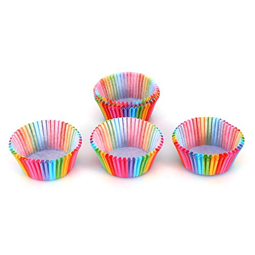 Vobor Cupcake Baking Cup-100 Stück Regenbogen Farbe Cupcake Liner Cupcake Papier Backform Cup Muffin Fällen Kuchenform