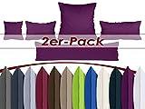 Doppelpack Kissenbezüge aus sanforisiertem Baumwoll-Jersey zum Sparpreis - in dezentem Design - 12 dekorativen Farben und 5 Größen, 40 x 145 cm, lila