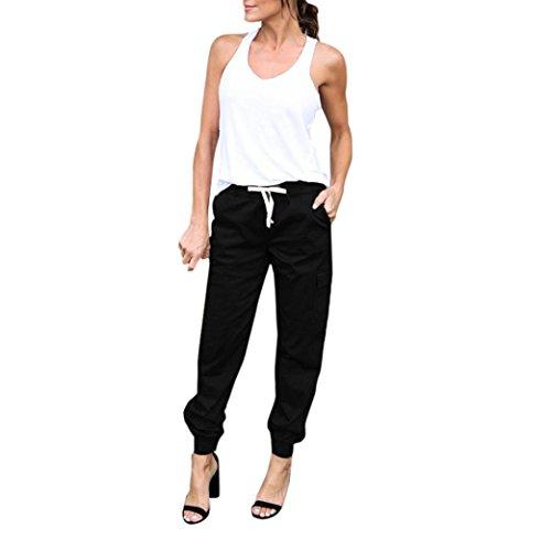 Damen Hose, Frauen Mode Beiläufige High Waist Einfarbig Cargohose Slim Fit Freizeithose Haremshose Casual Lose Lange Hose Streetwear Outdoorhose (Schwarz,L)