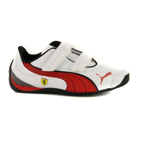 boys-puma-drift-cat-iii-ferrari-white-leather-strap-motorsport-trainers-uk-13-eur-32