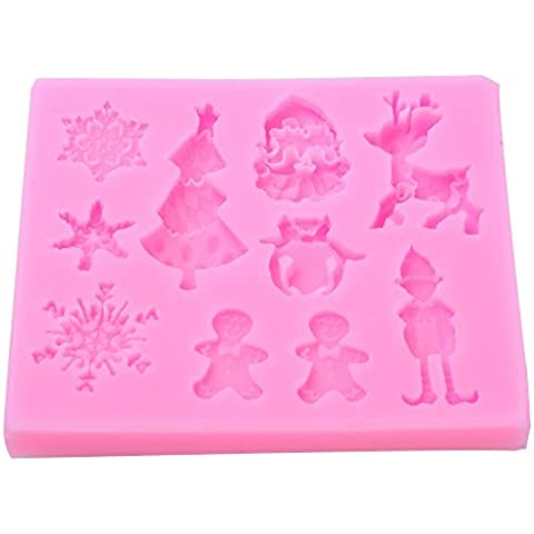 niceeshop(TM) Molde de Silicona en Forma de Copo de Nieve Navidad para Fondant Pastel y Galleta, Color Aleatorio