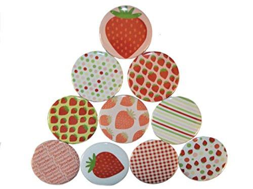 Magnetset Magnet Set Kühlschrankmagnet Größe: 50mm rund 10 Stück Motiv: Muster Erdbeere (Erdbeer-kühlschrank-magnete)