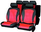 Carfactory - Juego de fundas para asientos de coche universales, modelo PIELS, simil piel, color gris y rojo, 9 piezas.