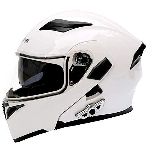 Fire wolf:casco moto Casco moto Smart Bluetooth Casco casco doppio disco Casco integrale Casco integrale: Bianco/L (23.22in-23.62in)