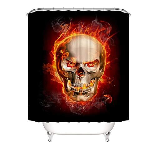 Epinki Polyester Duschvorhang Halloween Schädel Feuer Muster Bad Vorhang für Badezimmer Bunt 180x200CM