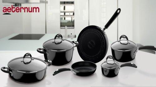 Idea cucina: Batteria di pentole Bialetti Aeternum Raffaello 10 pezzi, Antiaderente colore Nero
