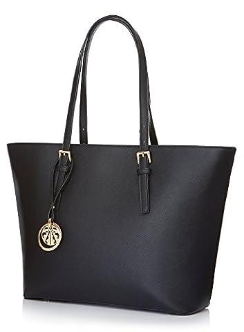 Black Leather Look Designer Inspired Tote Bag Women Handbag