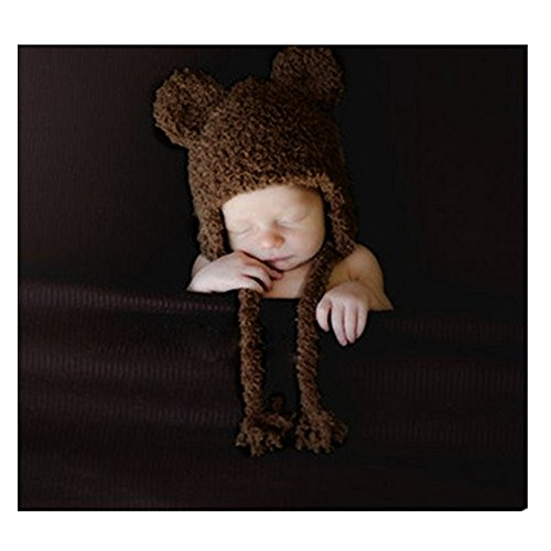 Newborn Baby Photography Props Boy Girl Crochet Costume Outfits Cute Bear Hat (Coffee)