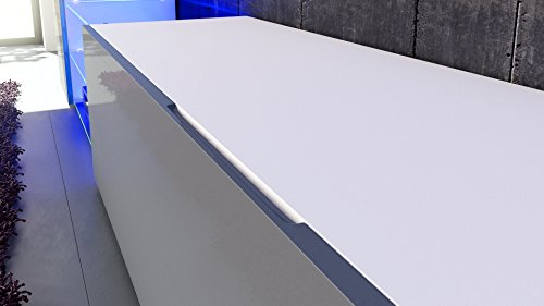 Wohnwand Anbauwand Mirage, Korpus in Schwarz matt / Fronten in Fuchsia Hochglanz inkl. LED Beleuchtung - 4