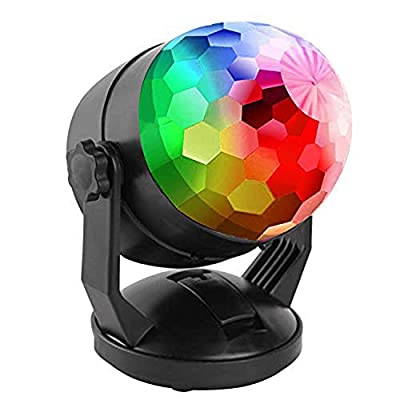 ENUOLI 7 Color RGB Sound Activated Magic Ball Strobe Lights Battery/USB Operated Led Crystal Disco light Stage Effect Par Lights Portable Music Rhythm Light for DJ Bar Club Home Party Xmas Wedding