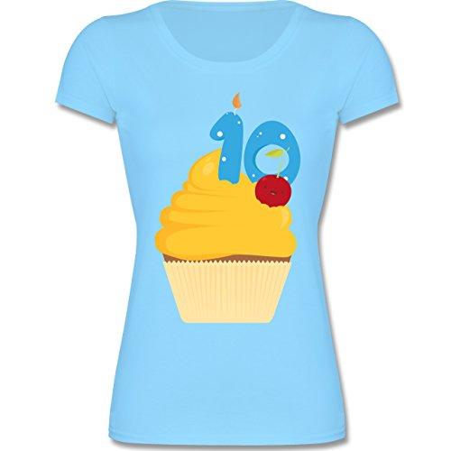 Geburtstag Kind - 10. Geburtstag Cupcake - 140 (9-11 Jahre) - Hellblau - F288K - Mädchen T-Shirt (T-shirt Cupcake Kinder)