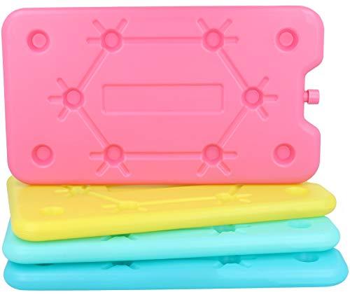 com-four® 4X Kühlakkus in bunten Farben - große Kühlelemente für Kühlbox und Kühltasche (4 Stück - groß)