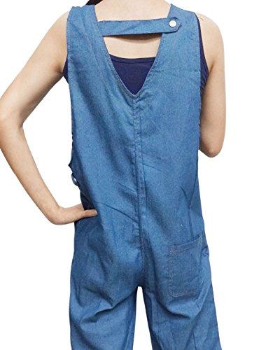 sourcingmap Femme Dos Découpe Jambe Large Corsaire Jeans Jarretelle Pantalon Bleu Clair
