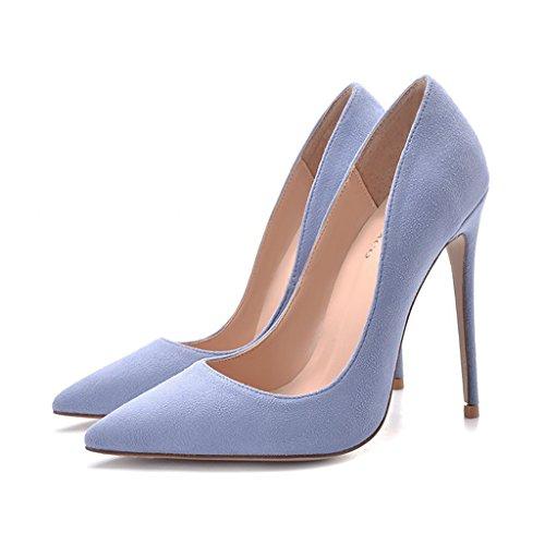 Hochhackige Schuhe, die mit Damenschuhen 8cm / 10cm / 12cm fein Ausgeschnitten sind. Blaue sexy Party Hochzeitsschuhe (Farbe : Height 12cm, größe : 39-Shoes long245mm)
