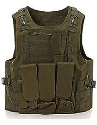 Tactical caza militar Molle Chaleco Militar Airsoft táctica SWAT Chaleco para Policía Holster verde