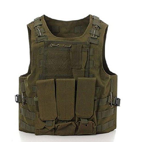 Chaleco táctico militar Molle, para Airsoft, SWAT, Policía, Army Green