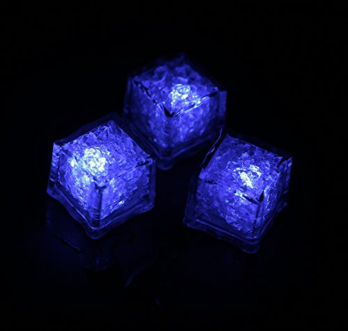(Pack of 12) Led Ice Cubes Enter Liquid Automatically Glows Blue,Waterproof Led Lamp,Put Into Ice Bucket or Champagne Tower to Use,Apply to Bar, Club, Wedding, Family Party