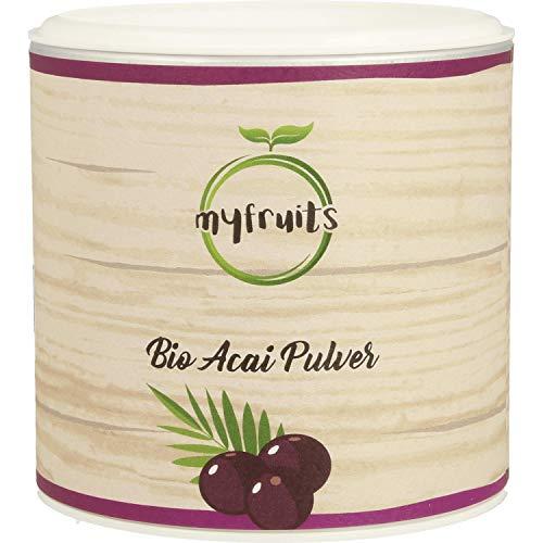 myfruits Bio Acai Pulver - gefriergetrocknet, ohne Zusätze, dunkelviolett. Wild gewachsen im Amazonasgebiet. Aus 1,8 kg frischen Beeren. Abgefüllt in Deutschland - finest superfood (100g)