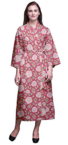 Bimba Rosa Blumen- Pecan Blätter & Japonica Baumwolle Robe Frauen leichte Bedruckte Crossover Robes Brautjungfer Immer bereit Shirt XL -