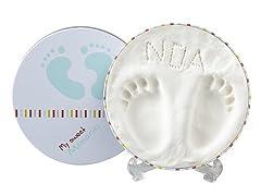 Idea Regalo - My Sweet Memories Baby Prints Box, Scatola in Metallo con Kit Impronta per Calco Mani e Piedi del Neonato