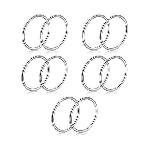 FECTAS 10stk Nasenpiercing Nasenring Set Chirurgenstahl 18G 8mm Lippe Nase Tragus Ohrring Cartilage Helix Piercing Ring Schmuck (Ring Silber 18g Nose)