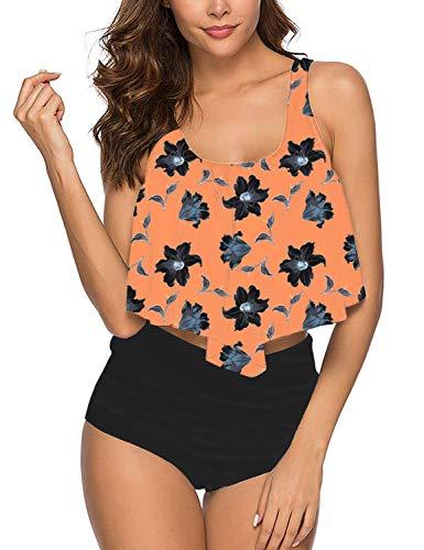 Summer Mae Damen Volant Hohe Taille Bikini Set Bedruckt Badeanzug Orange Blumen XL -