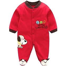 Recién nacido Pijama de Algodón Mameluco Bebé Pelele Mono Manga Larga Trajes 0-3 Meses