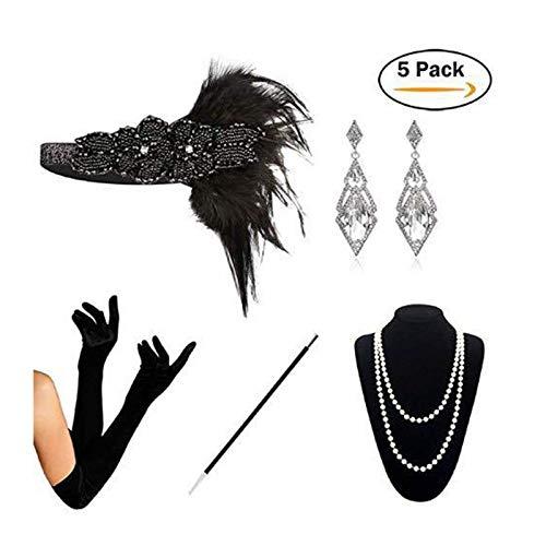 AmDxD Damen 20er Jahre Zubehörset Flapper Kostüm-Set Feder Retro Stirnband, Perlenkette, Hohl Diamant-Form Ohrringe, Zigarettenhalter, Handschuhe 20s Kostüme Inspiriert Accessoires Silber