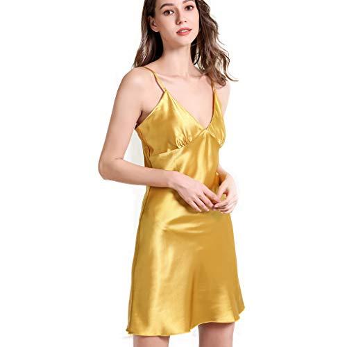 ❤❤JiaMeng Damen Seide Nachthemd Unterkleid V-Ausschnitt Kurz Unterrock mit Trägern Satin Träger Erotik Pyjama -
