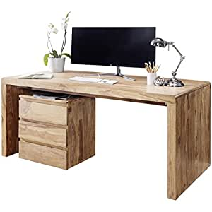 wohnling schreibtisch massiv holz akazie computertisch 120. Black Bedroom Furniture Sets. Home Design Ideas