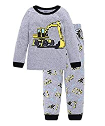Schlafanzug Jungen Langarm Zweiteiliger Baumwolle Kinder Nachtwäsche Dinosaurier Bagger Feuerwehrauto Zug 92 98 104 110 116 122, Bagger, 92 (HerstellerGröße: 90)