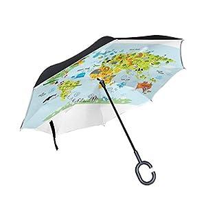 jstel doble capa diseño mapa del mundo con animales paraguas coches Reverse resistente al viento lluvia paraguas para coche al aire libre con asa en forma de C
