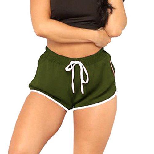 ESAILQ Shorts Womens High Waist Yoga Bandage Elastic Waist Casual Short Pants