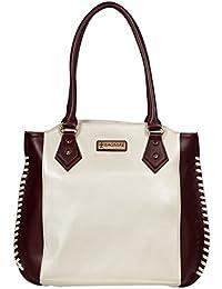 BAGMIRE Women's Handbag (Off White & Maroon)