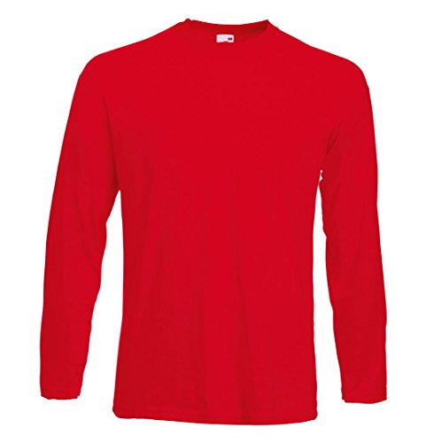 Fruit of the Loom Long Sleeve Value T-Shirt L Red