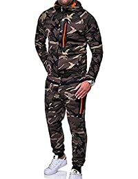 Uomo Manica Lunga Abbigliamento Fitness Cerniera Abbigliamento Sportivo  Sciolto Sport 2 Pezzi Camuffamento Tasca Maglione Pantaloni 402a20c72c6