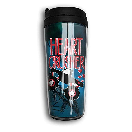 Heart Crusher Portable Curved Coffee Cups 350ML Vacuum Insulated Thermal Cup with Splash Proof Lid
