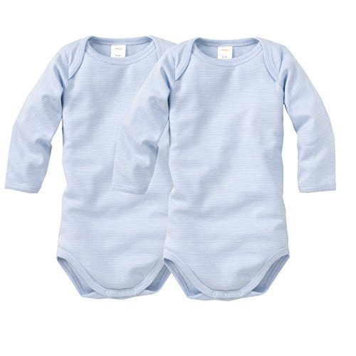 Preisvergleich Produktbild wellyou, 2er Set Kinder Baby-Body Langarm-Body, hell-blau weiß gestreift, geringelt, für Jungen und Mädchen, Feinripp 100% Baumwolle, Größe 116 - 122