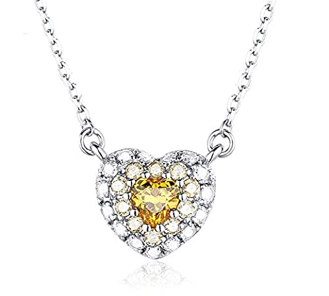 Tiny Sterling Silver Yellow Swarovski Crystal Love Heart Pendant Necklace With Chain, Gift Box For Women