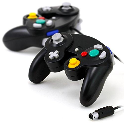 CSL - 2X Gamepad Nintendo Wii + Wii U + Gamecube | Classico Effetto Vibrazione | Joypad con Cavo | Nero