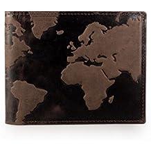 Cartera única con Mapa del mundo en relieve, de piel auténtica, ...