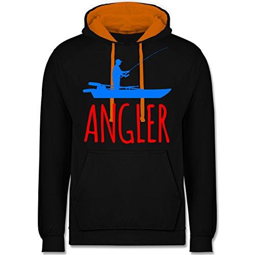 Angeln - Angler Boot - Angelboot - M - Schwarz/Orange - JH003 - Kontrast Hoodie (Tall Winter Boots Für Männer)