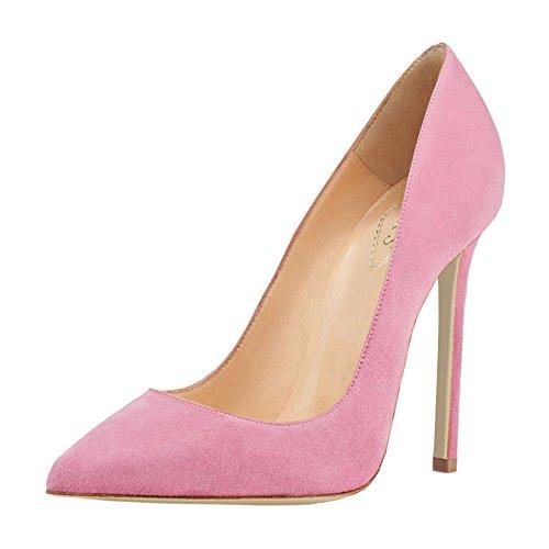 EKS Damen Einfache Spitze Zehe Stiletto High Heels Kleid Partei Pumps Pink-Faux Wildleder
