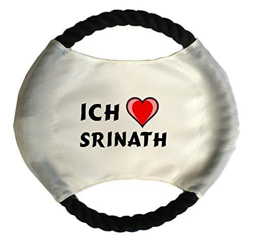 Personalisierter Hundefrisbee mit Aufschrift Ich liebe Srinath  (Vorname/Zuname/Spitzname)