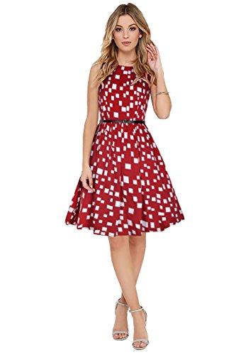 Purvaja Women's Western Wear Party Wear Skater Dress(highway) (Red, Small)