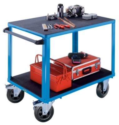 EUROKRAFT ACTIVE GREEN Montagewagen - 2 Ladeflächen 1050 x 700 mm - Gestell lichtblau - Arbeitstisch, fahrbar Arbeitstische, fahrbar Fahrbare Werkbank Fahrbarer Arbeitstisch Werkbank, fahrbar Werkbänke, fahrbar